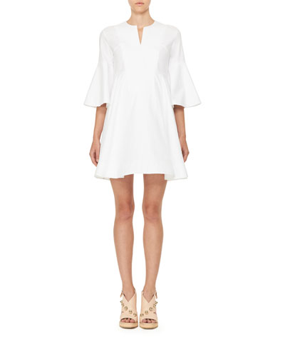 Bell-Sleeve Poplin Fit-and-Flare Dress, White