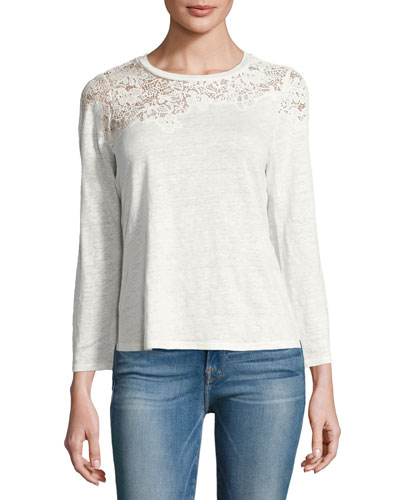 Arella Lace Jersey Long-Sleeve Top, White