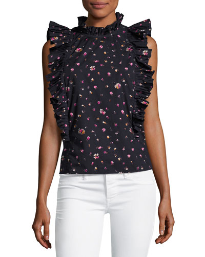Mia Floral-Print Sleeveless Ruffle Top, Navy