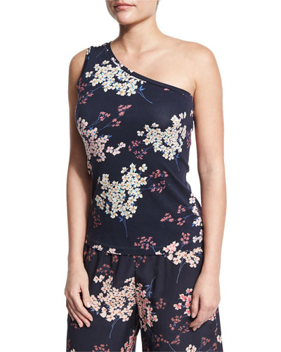 Phlox Floral-Print Jersey One-Shoulder Tank, Navy