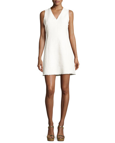 Sleeveless V-Neck Tweed Mini Dress, White