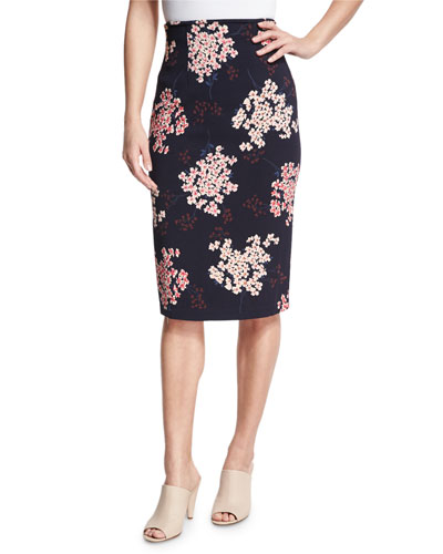 Phlox Floral-Print High-Waist Skirt, Navy