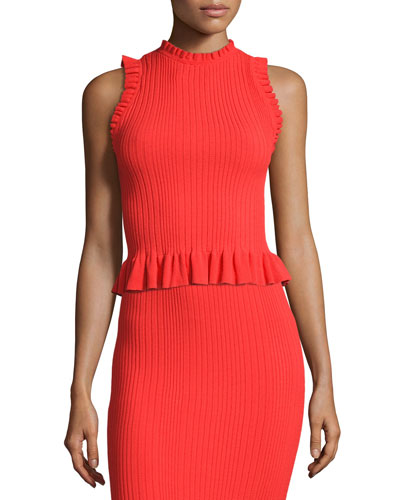 Sleeveless Ribbed Ruffle Top, Red