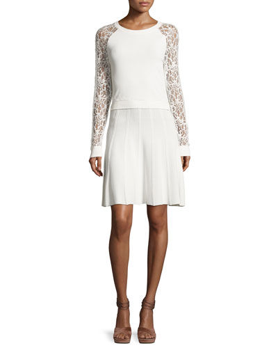 Blake Lace Raglan-Sleeve Dress, White