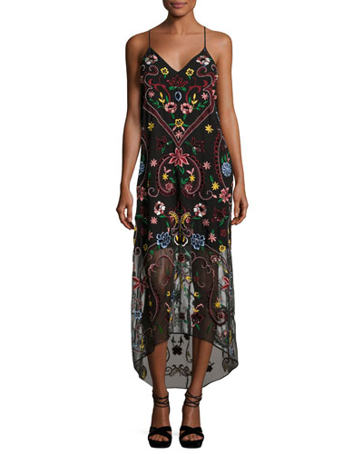 Jameson Floral Embroidered Y-Back Midi Dress, Black Multicolor
