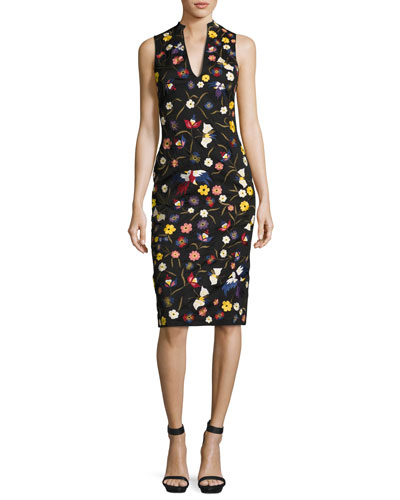 Jacki Floral Embroidered Sleeveless Sheath Dress, Black Multicolor