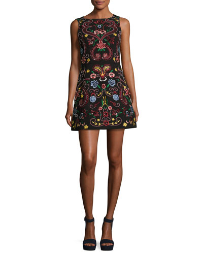 Lindsey Sleeveless Embroidered Dress, Black Multicolor