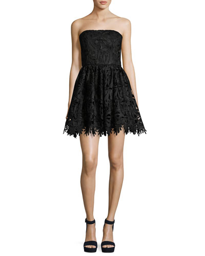 Daisy Strapless Lace Party Dress, Black