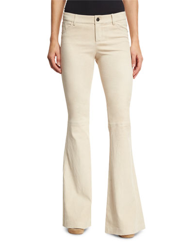 Suede Bell-Bottom Five-Pocket Pants, Champagne