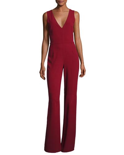 Lina V-Neck Sleeveless Jumpsuit, Wine