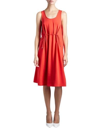 Sleeveless Drawstring Jersey Dress, Red