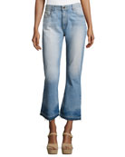 Tasha High-Waist Cropped Jeans with Released Hem, Light Blue