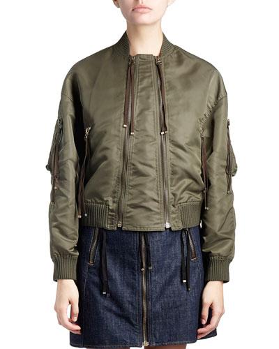 Satin Double-Zip Bomber Jacket, Green