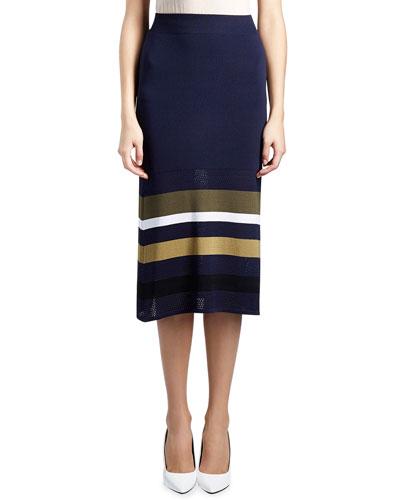 Mesh Striped-Trim Midi Skirt, Dark Blue