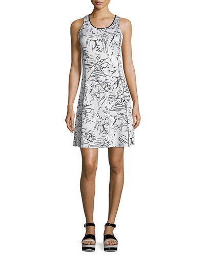 Antonio Sketches Jacquard Shirtdress, White
