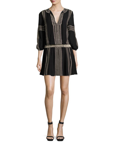 Jolene Embroidered Blouson Dress, Black/Neutral