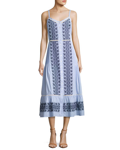Joni Sleeveless Embroidered Midi Shirtdress, Blue/White