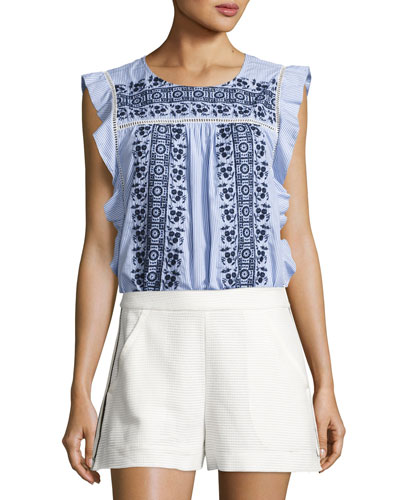 Cece Sleeveless Embroidered Striped Poplin Top, Blue/White
