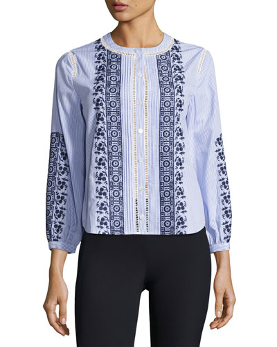Claire Button-Down Embroidered Top, Blue-White