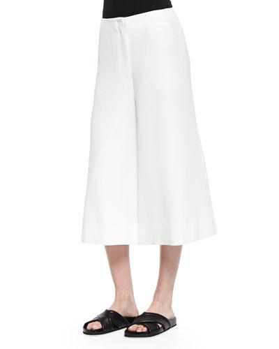 Presli Cropped Wide-Leg Pants, Ivory