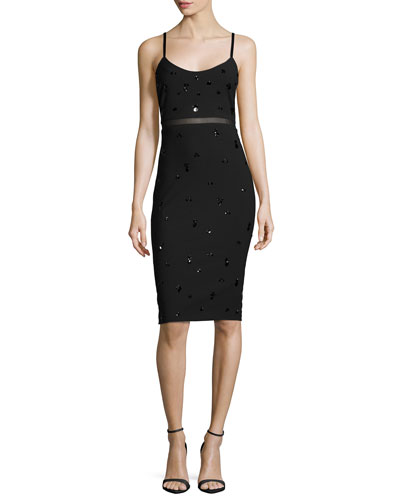 Bianca Embellished Fitted Dress, Black