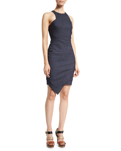 Bardot Sleeveless Faux-Wrap Denim Dress, Indigo