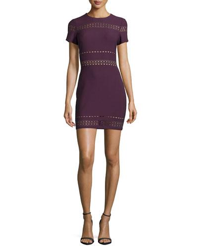 Ari Short-Sleeve Fitted Dress, Plum