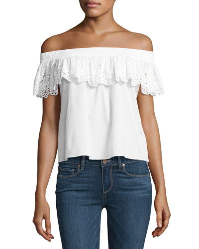 Eyelet Lace Off-the-Shoulder Top, White