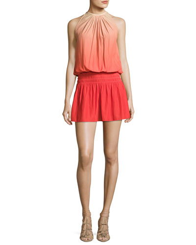 Paris Sleeveless Ombre Mini Dress, Spring Red/Nude