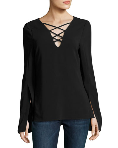Allie Lace-Up Long-Sleeve Top, Black