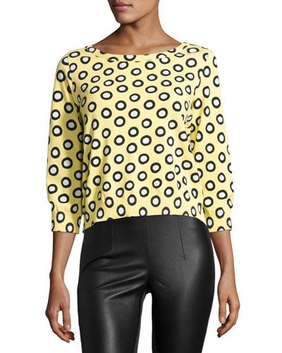 3/4-Sleeve Polka Dot Sweater, Yellow/White