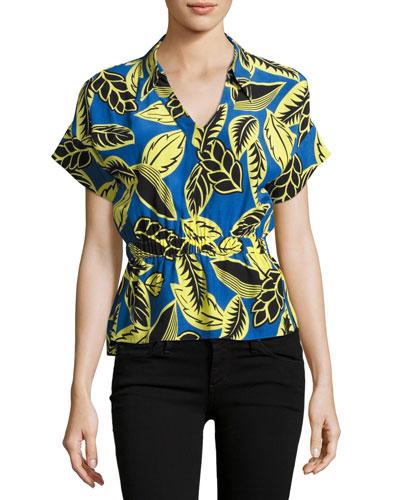 Short-Sleeve Palm-Print Blouson Blouse, Blue/Yellow