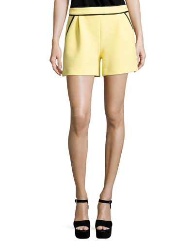 Ribbed Knit Shorts w/ Contrast Piping, Yellow/Black