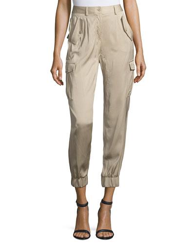 Cropped Satin Safari Trousers, Khaki
