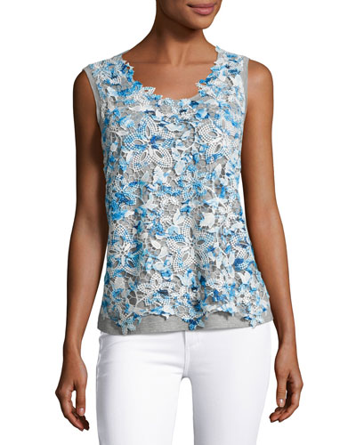 Leandra Sleeveless Lace-Front Blouse, Blue/Gray