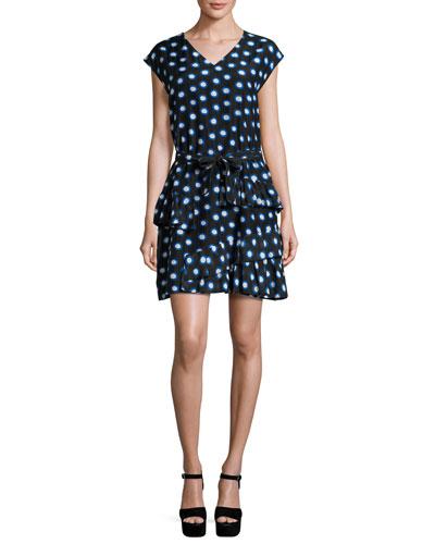 Cap-Sleeve Ruffled Polka-Dot Shirtdress, Blue/White