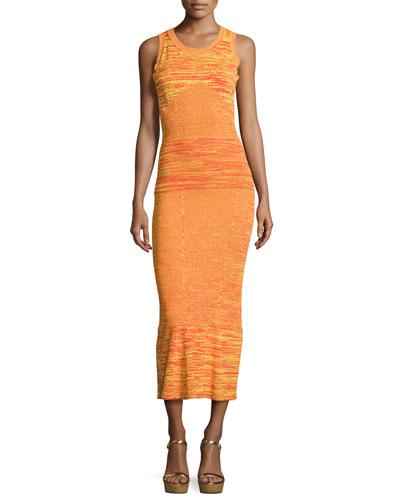 Sleeveless Space-Dyed Maxi Dress, Orange