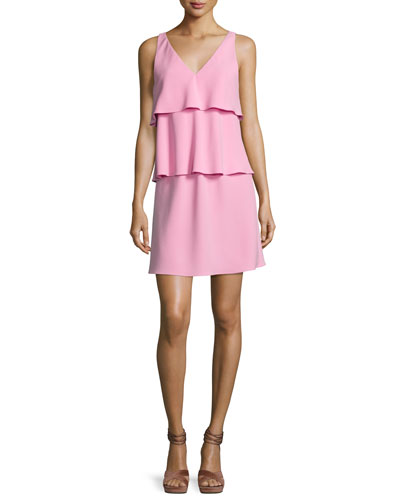 Sleeveless Tiered Ruffled Dress, Pink
