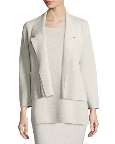 Washable Wool Short Boxy Jacket, Sea Salt
