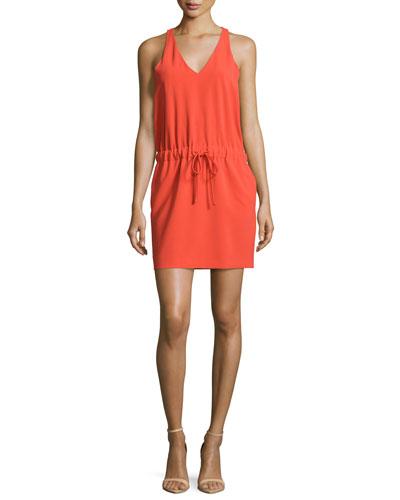 Sleeveless Tie-Waist Dress, Coral