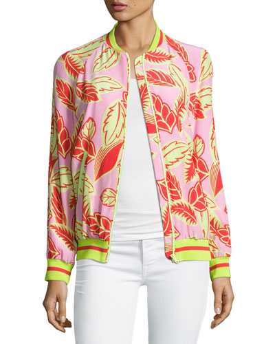 Palm-Print Bomber Jacket, Pink/Yellow