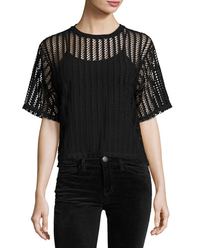 Lattice Jersey Box Tee, Black