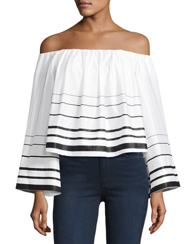 Striped Off-the-Shoulder Long-Sleeve Crop Top, White/Black