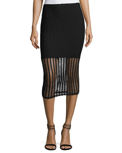 Lattice Jersey Midi Skirt, Black