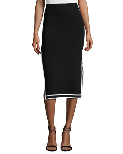 Sporty Border Side-Slit Midi Skirt, Black/White