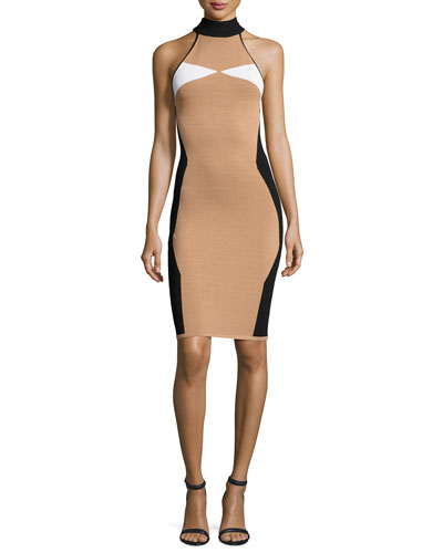 Sleeveless Mock-Neck Intarsia Fitted Dress, Camel/White/Black