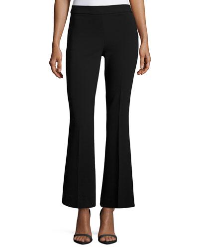Stretch-Knit Wide-Leg Pants, Black