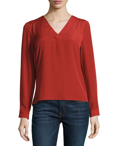 V-Neck Cutout Back Blouse, Red