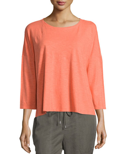 Organic Cotton Hemp 3/4-Sleeve Top, Petite