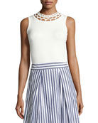 Cutout-Yoke Knit Shell, White